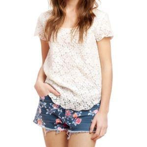Aritzia Talula Betsey pink & white lace blouse